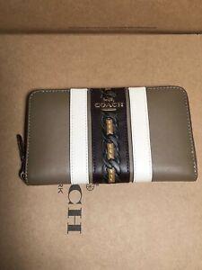 NWT Coach 108 Medium Zip Around Wallet with Varsity Stripe