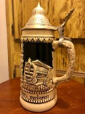 Heidelberg Germany Saltglaze Stein Coat Arms Perkeo Schloss Beer Mug Pewter Lid