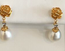 BRAND NEW 14K YELLOW GOLD ROSE DESIGN WITH A 7.5MM BAROQUE PEARL  DROP EARRING