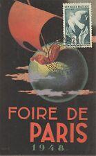 CARTE POSTALE / FOIRE DE PARIS 1948 / PHILATELIE / COLOMBE DE LA PAIX