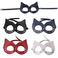 Women Sexy Faux Leather Half Face Owl Ears Cat Mask with Rivets Studs Toy