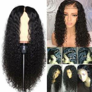 "23"" Women's Curly Wavy Long Synthetic Hair Wigs Ladies Costume Dark Black Wig"