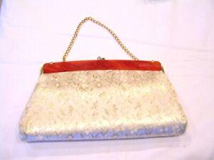 Gold brocade clutch purse with Bakelite trim handbag pocketbook prom wedding
