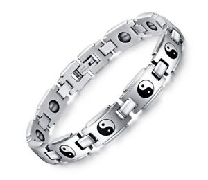 """Men Titanium Stainless Steel Pain Relief Ying Yang Magnetic Therapy Bracelet 8"""""""