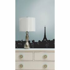 Paris Skyline Wall Decals Living In Room Decor Stickers Black Eiffel Tower City