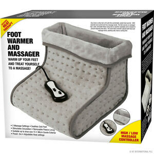 Electric Foot Warmer And Massager Soothing Relaxing Hot Feet Massage Faux Fur NT