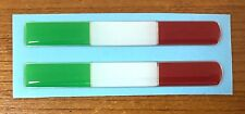 2 x ITALIAN FLAGS - HIGH GLOSS DOMED GEL Stickers/Decals - 84mm - Italy