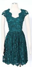 Betsey Johnson Green Casual Dress Size 8 Cotton Rayon Lace Draped Women's New*