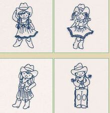 Cute Cowgirl 2 Machine Embroidered Quilt Blocks Set of 10 Redwork, choice color