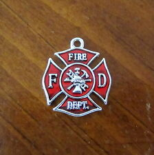 FIRE DEPARTMENT RED ENAMEL MALTESE CROSS CHARM firefighter dept bead jewelry