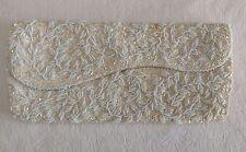 Vintage La Regale Evening Handbag Clutch Sequins Pearls Beads Ivory Cream