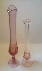 "Set of 2 VTG Pink Depression Glass 9"" Ruffled Top + 11"" Ribbed Swung Bud Vases"