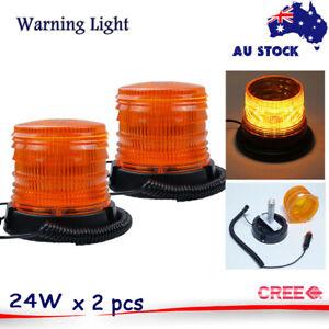 LED Beacon Amber Yellow Orange Light Strobe Flashing Rotating Warning Truck Car