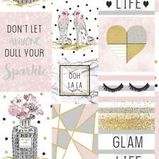 GLAM Life collage papel pintado rosa - Arthouse 699402 con purpurina