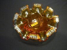 "CHALET SIGNED ""RARE "" HONEY GOLD TO CLEAR SWIRL BOWL ART GLASS PIECE (#3865)"
