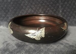 Antique Vintage Japanese Inlaid Pewter Butterflies Lacqured Footed Low Bowl