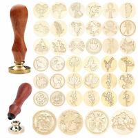 DIY Retro Wax Seal Stamps Post Wedding Wooden Handle Envelope Sealing Wax Craft