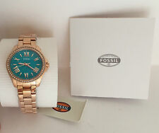 NEW ARRIVAL! FOSSIL CECILE ROSE-GOLD STAINLESS STEEL TURQUOISE WATCH AM4584 $145