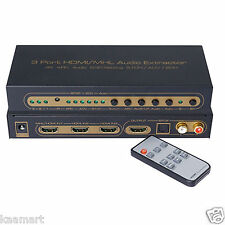 HDMI 1.4 Switch Switcher Box Selector 3 In 1 Out Audio Extractor Splitter ARC 4K