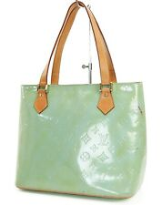 Authentic LOUIS VUITTON Houston Baby Blue (Green) Vernis Tote Bag Purse #37380