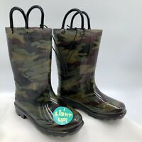 New Western Chief Scatter Camo Light Up Rain Boots Kids Youth Toddler Size 8