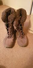 KHOMBU SUEDE FUR LINED WINTER LACE UP FLAT BOOTS. UK 10 11 BROWN