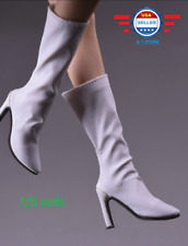 "1/6 scale White Leather Boots HOLLOW for 12"" PHICEN female figure"