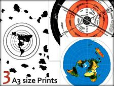 3 FLAT EARTH PRINT BUNDLE - Buddhist World Map + Abizaid 1920 + Azimuthal USGS