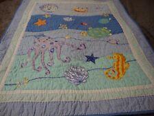 Handmade Baby Quilt Appliqued Sea Ocean Turtle Fish Octopus Shell 36x46     OCT7