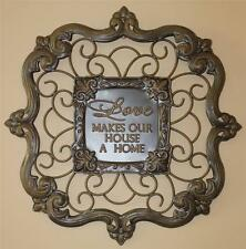 New Metal Tuscan Fleur de Lis Wall Art  Plaque Picture Love Makes Our House Home