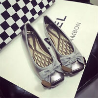Women Casual Flat Shoes Metallic Flats Slip-On Ballet Shoes Bow Tie Plus Size