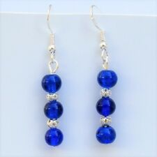 Blue Glass Earrings Sterling Silver Hooks New Drop Dangly Style LB119