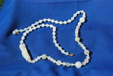"Vtg. Natural Rose Quartz &  Onyx Carved 10MM Beads in a 32""inch Necklace"