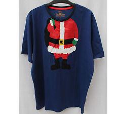Men's Navy Blue  Santa Christmas Fansy Loungwear T shirt Top Medium