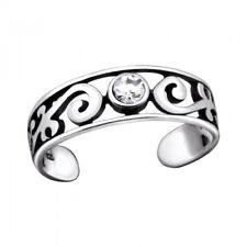 925 Sterling Silver Swirl Crystal Toe Ring - Gift Boxed