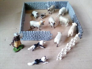 BRITAINS COLLECTION OF SHEEP SHEPHERD DOGS & STONE WALL  FENCE .c1960's . S.FM.3