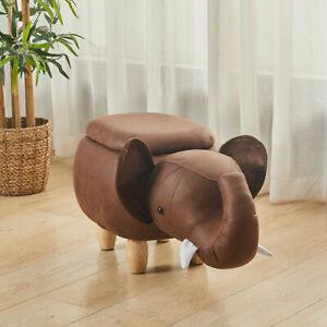 Animal Cattle Footstool Upholstered Wooden Legs Children's Rest Furniture Seat