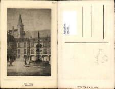 586220,Künstler Ak Radierung W. De Haan Den Haag Binnenhof Brunnen Netherlands