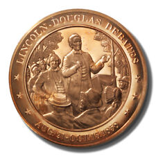 Franklin Mint History of US Lincoln-Douglas Debates 1858 45mm Proof Bronze Medal