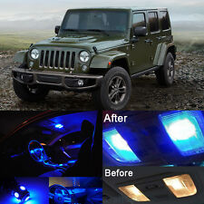 Blue LED Interior Kit + Blue License Light LED For Jeep Wrangler JK 2007-2017