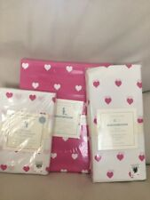 Pottery Barn Kids Bright Pink HEART Toddler Duvet//Fitted Sheet//Pillowcase Crib
