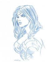 Wonder Woman Portrait Convention Blue Line Sketch by Animator - Art Drawing