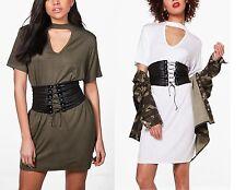 NEW LADIES WOMENS Hilary Choker Neck T-Shirt Dress