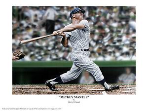 Mickey Mantle Limited Artist Edition Giclee Print by Darryl Vlasak. 18 x 24 in.