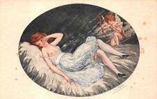 NUDE RED HEAD GLAMOUR WOMAN ARTIST SIGNED CUPID ARROW ROMANCE POSTCARD (c. 1910)