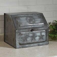 Antique Replica Vintage Style Silver Star Bread Box Galvanized Metal Unique New