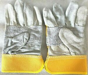 Leather Welding Gloves Yellow Grey 24cmx12.5cm 2 Pairs Welders Safety Protection