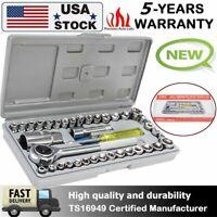 "Standard SAE & Metric 40 Piece Socket 1/4'' & 3/8"" Drive Ratchet Wrench Kits US"