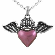 Winged Heart Necklace w. Royalty Crown Pendant Stainless Steel Jewelry Controse