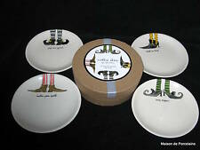 4 RAE DUNN MAGENTA, INC HALLOWEEN PLATES WITCH SHOES NIB